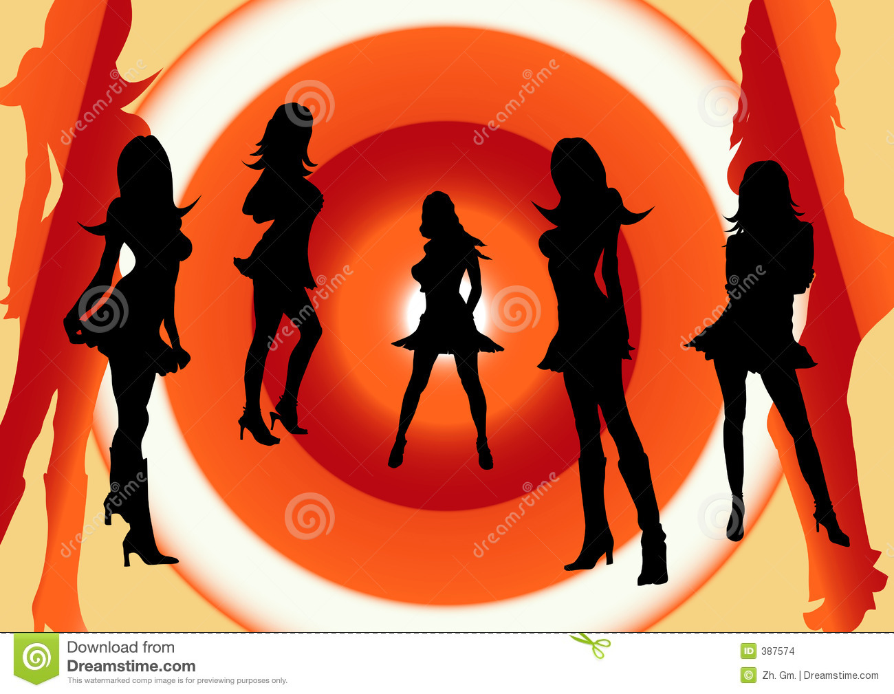 Charlies Angels. Girls Party. Stock Illustration.