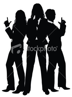 Silhouette businesswomen posing like Charlies.