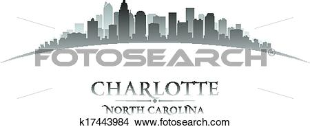 Clipart of Charlotte North Carolina city skyline silhouette.