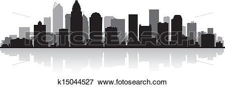Clip Art of Charlotte city skyline silhouette k15044527.