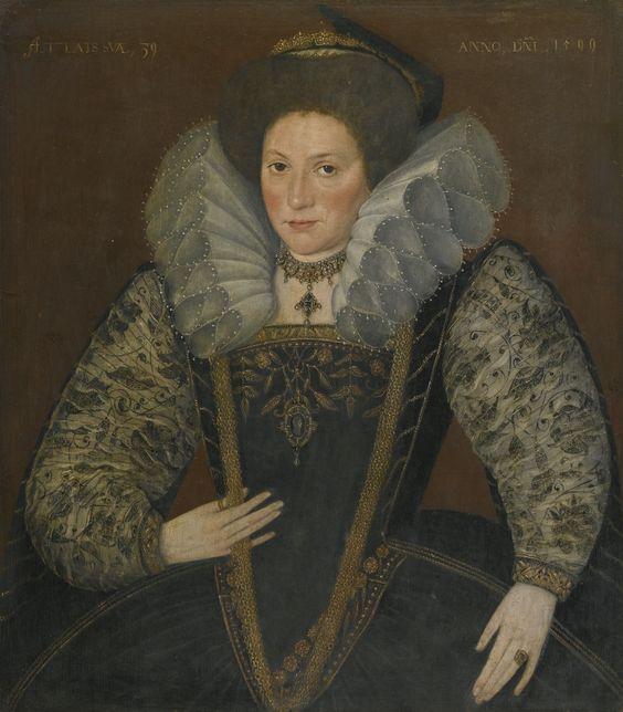 English School, 1599 PORTRAIT OF A LADY, HALF.
