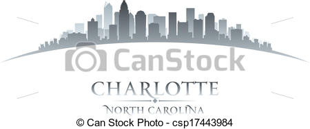 Vector of Charlotte North Carolina city skyline silhouette. Vector.