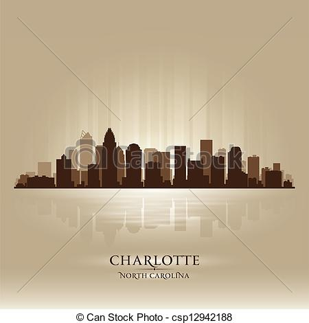 Vector of Charlotte North Carolina skyline city silhouette.