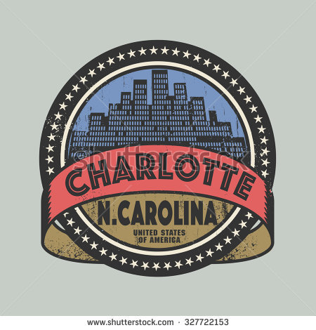 Grunge Rubber Stamp Or Label With Name Of Charlotte, North.