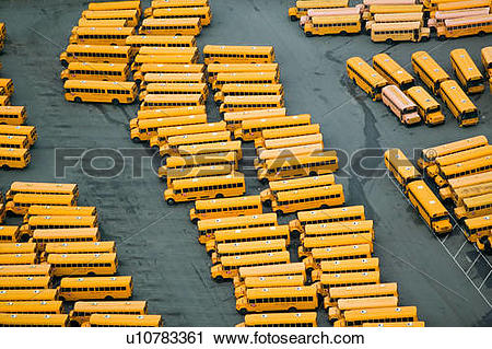 Stock Photography of Aerial view of old busses in Charlotte, North.