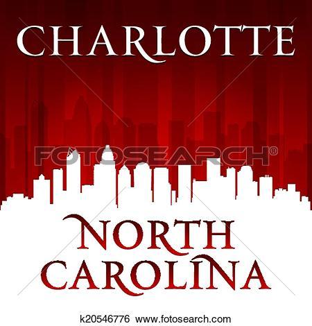 Clip Art of Charlotte North Carolina city skyline silhouette red.