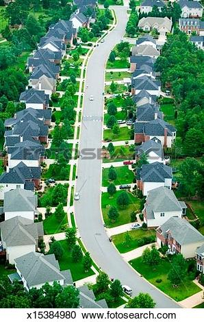 Stock Photography of 'Aerial view of housing development in.