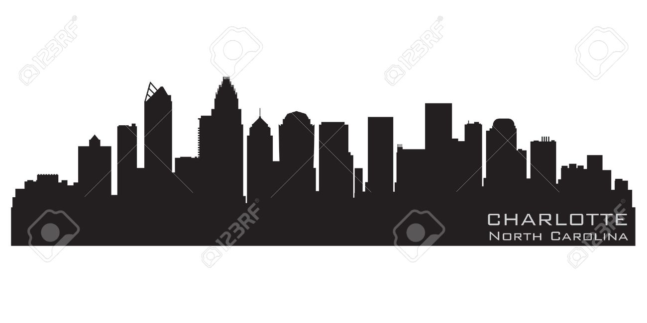 Charlotte, North Carolina Skyline Detailed Silhouette Royalty Free.