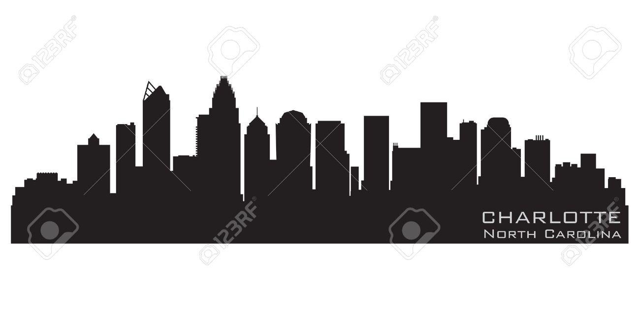 Charlotte, North Carolina Skyline Detailed Silhouette Royalty Free.