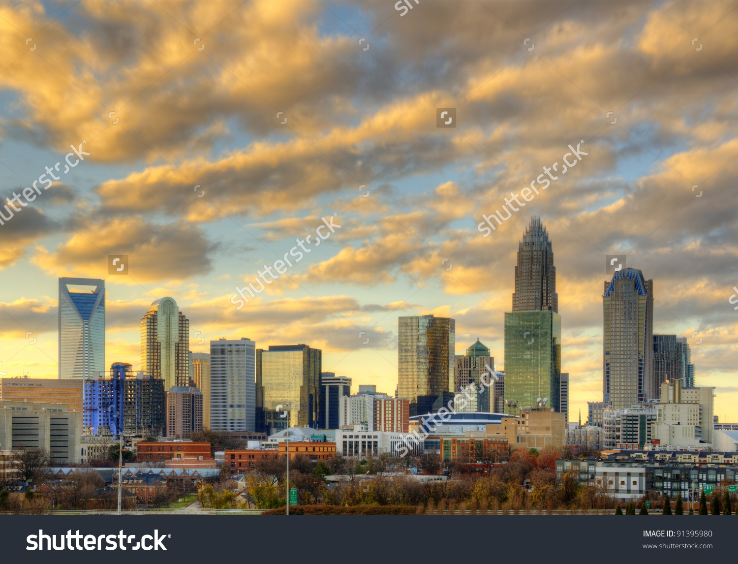 Skyline Uptown Charlotte North Carolina Under Stock Photo 91395980.