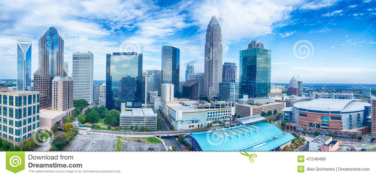 Charlotte North Carolina City Skyline And Downtown Stock Photo.