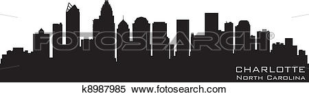 Clipart of Charlotte, North Carolina skyline. Detailed vector.