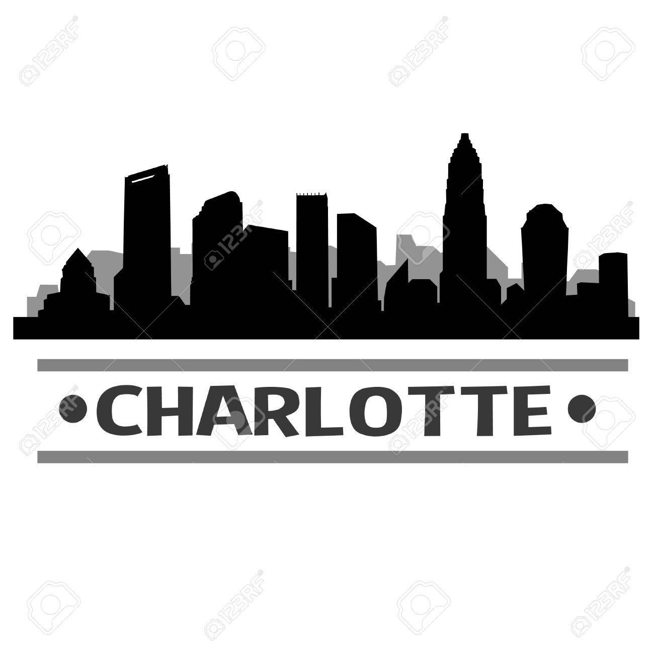 Charlotte Skyline Vector Art City Design.