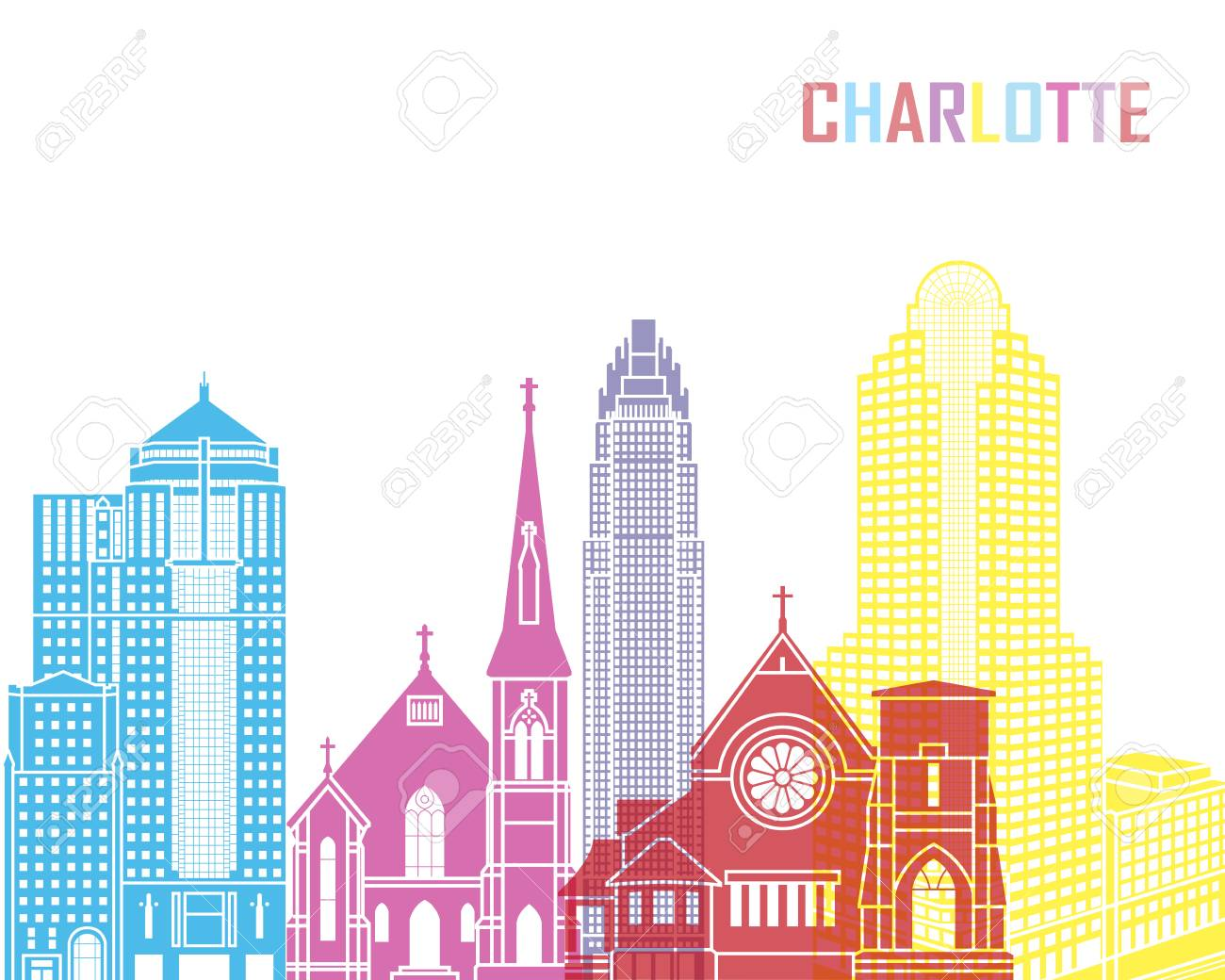 Charlotte skyline pop in editable vector file.