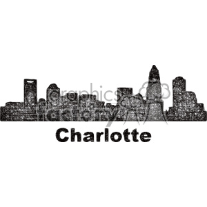 black and white city skyline vector clipart USA Charlotte . Royalty.