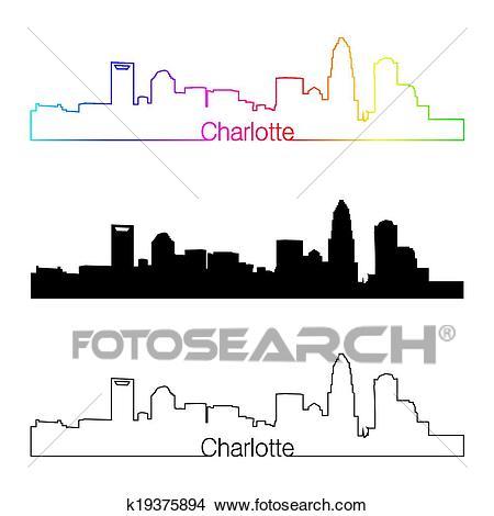 Charlotte skyline linear style with rainbow Clipart.