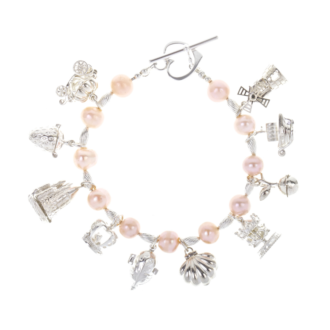 Charm Bracelet Pearl / Pink with Ten Magical Charms.