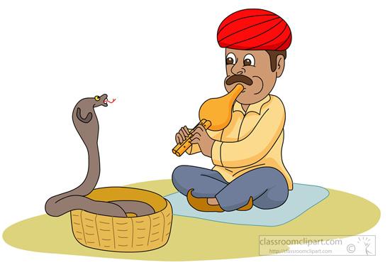 Snake charmer clipart.