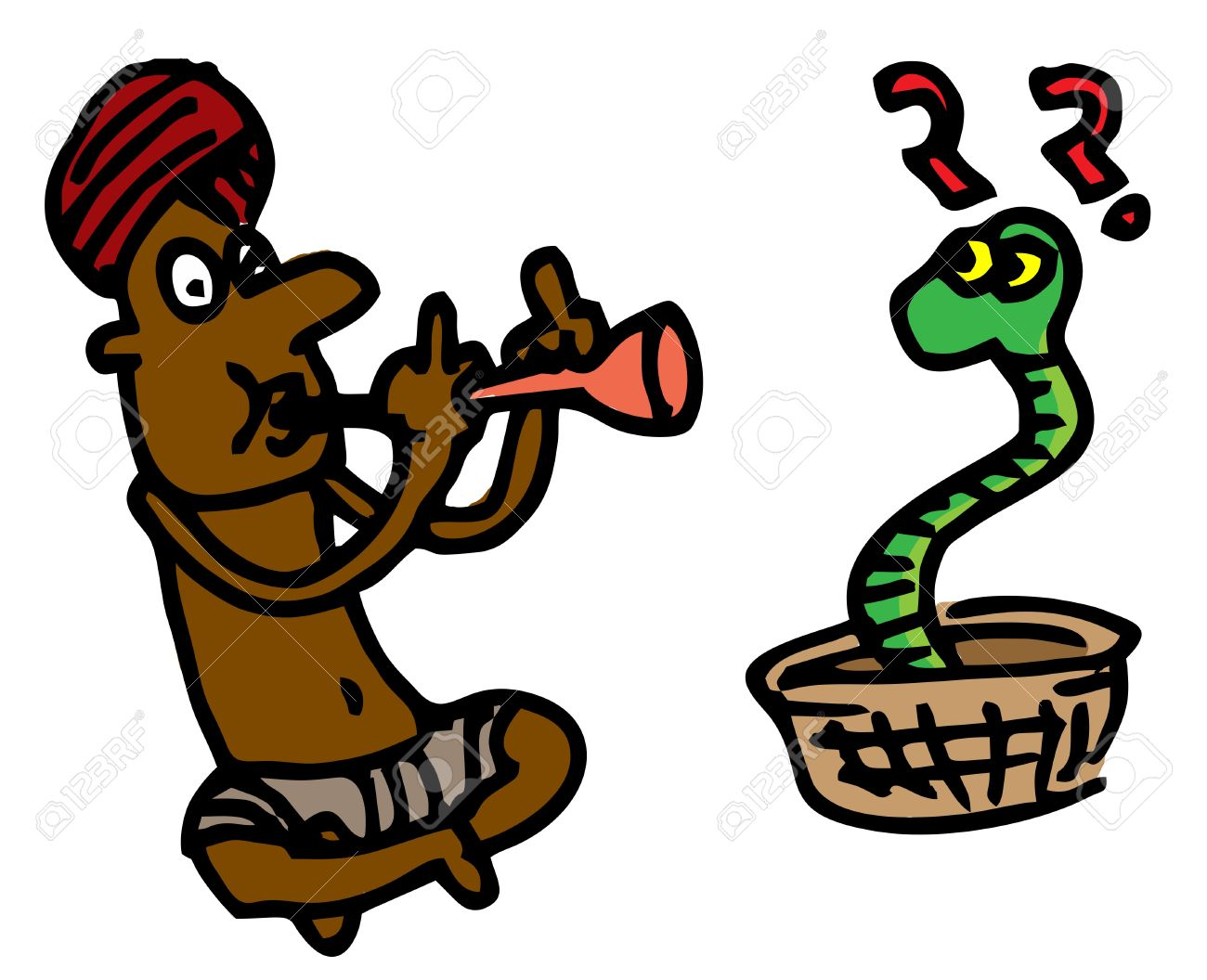 Illustrative Representation Of A Snake Charmer Royalty Free.