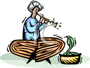Image: A Snake Charmer Playing Flute For a Cobra.