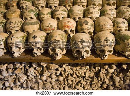 Picture of Painted sculls in the Charnel House of Hallstatt.