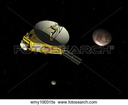 Stock Illustration of New Horizons spacecraft approaches dwarf.
