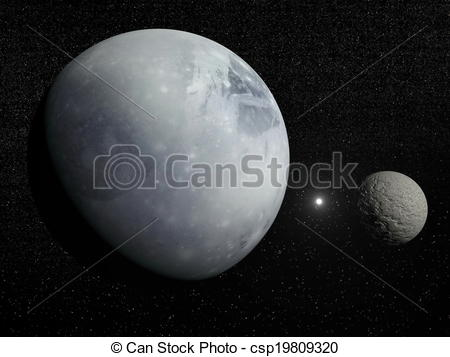 Clip Art of Pluton, Charon and Polaris star.