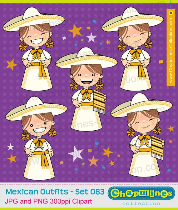 Clipart girls with charro suit, white and gold, mexican suit.