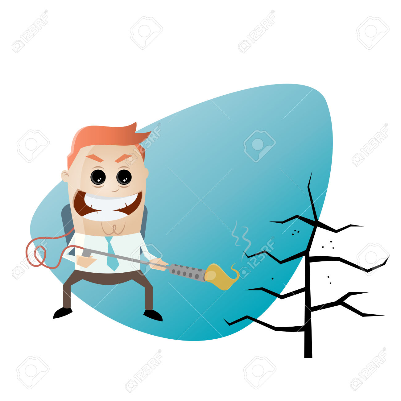 Cartoon Man With Flamethrower And Charred Tree Royalty Free.