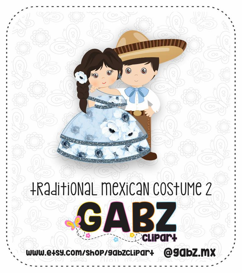 Traditional Mexican Costume, Clipart, Aztec, Charro, Decorativo, Mexican,  Fiesta, Mexican Party, Mexican Birthday, Brothers, Gabz.