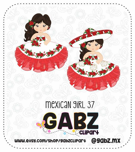 Mexican Girl, Fifteen Party, Sweet Sixteen, Clipart, Birthday.