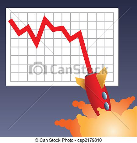 Stock Illustration of Business chart crashing down.