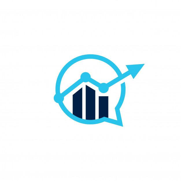 Bar chart statistics business talk chat bubble logo icon.