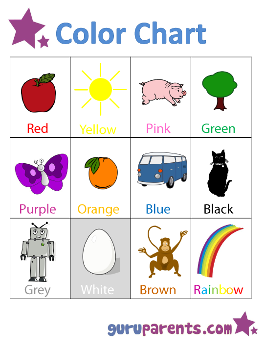 Preschool Color Chart.