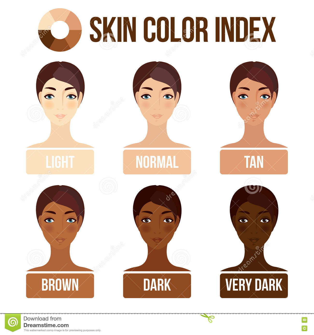 Skin Color Index Stock Vector.