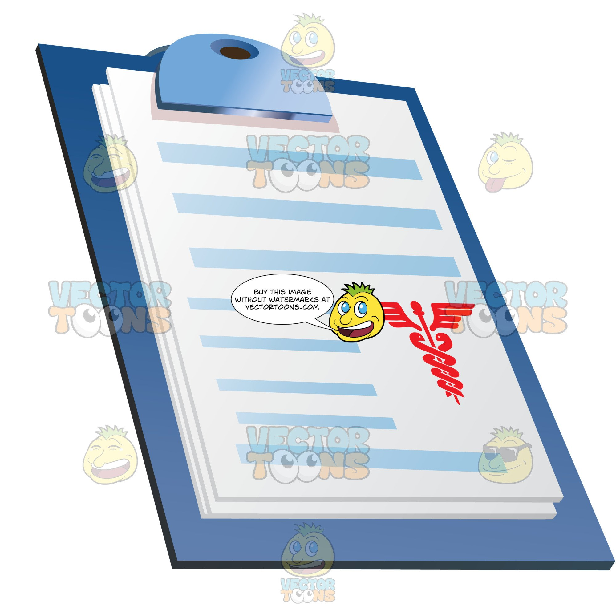Papers Or Chart On Clipboard.