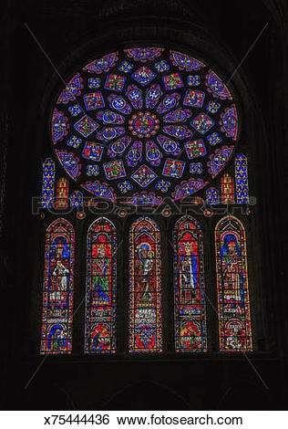 Stock Images of Rose Window in Chartres Cathedral x75444436.