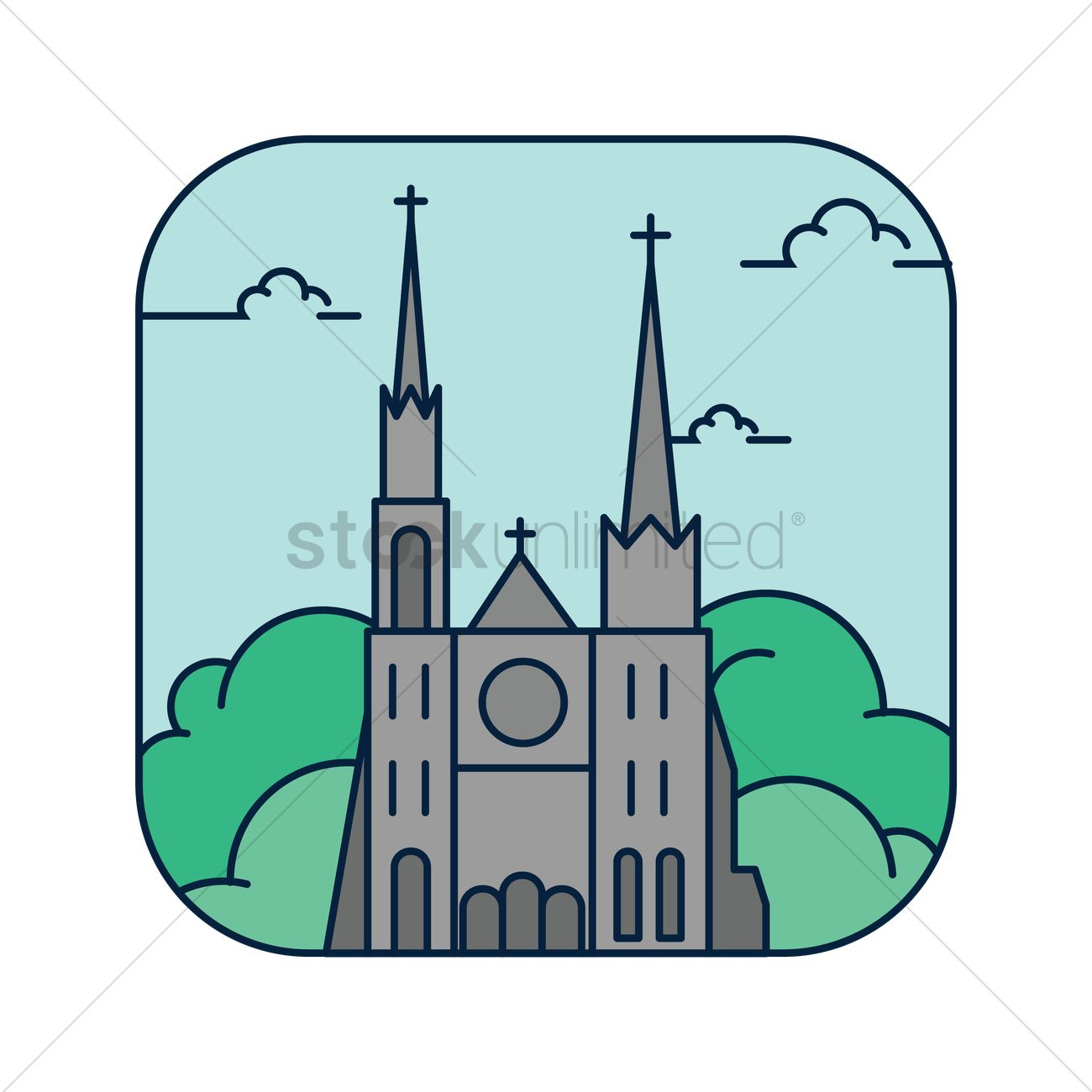 Chartres cathedral Vector Image.