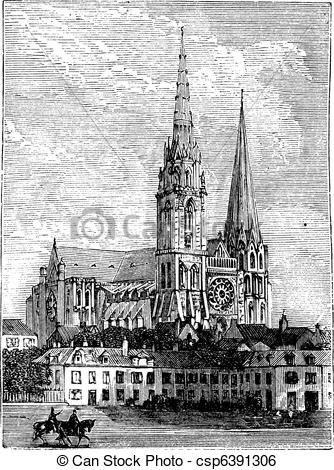 Clip Art Vector of Chartres Cathedral, in Chartres, France, during.