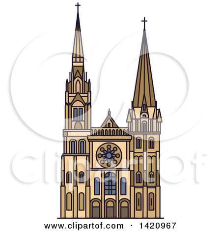 Clipart of a French Landmark, Chartres Cathedral.