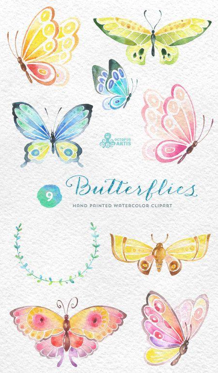 Acuarela de mariposas: 9 separadas pintado a mano de imágenes.