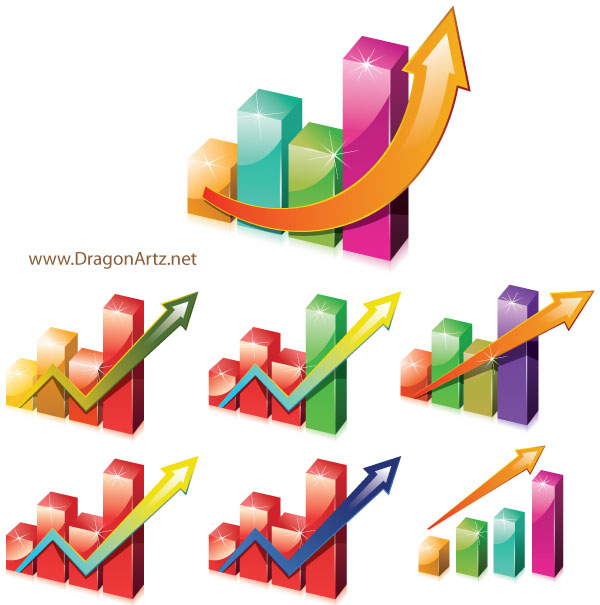 Charts Clipart with Arrow, vector images.