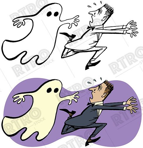 A vintage illustration of a man being chased by a scary.