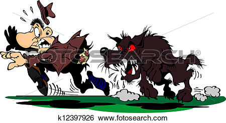 Clip Art of Dog chases a frightened man k12397926.