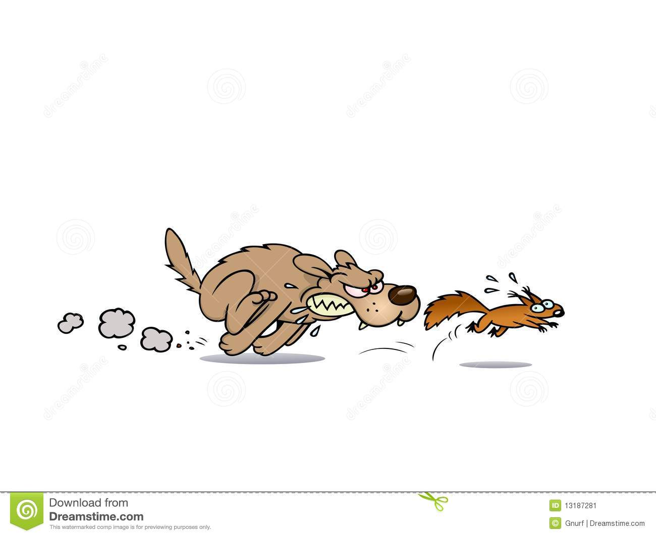 Dog Chasing A Squirrel Stock Image.