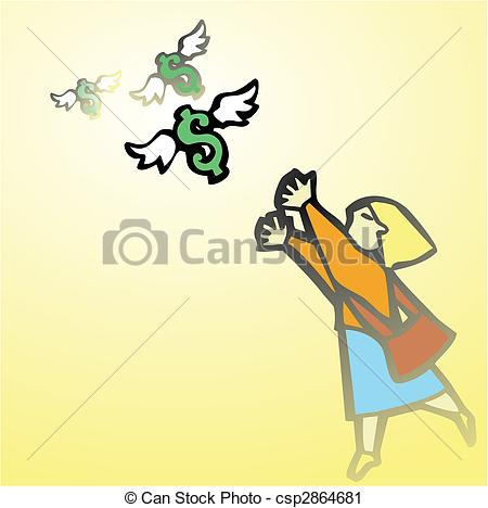 Vector Clip Art of Woman Chasing Money.