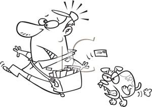 Black and White Cartoon of a Vicious Dog Chasing a Postman.