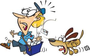 Colorful Cartoon of a Dog Chasing a Postman Down the Street.