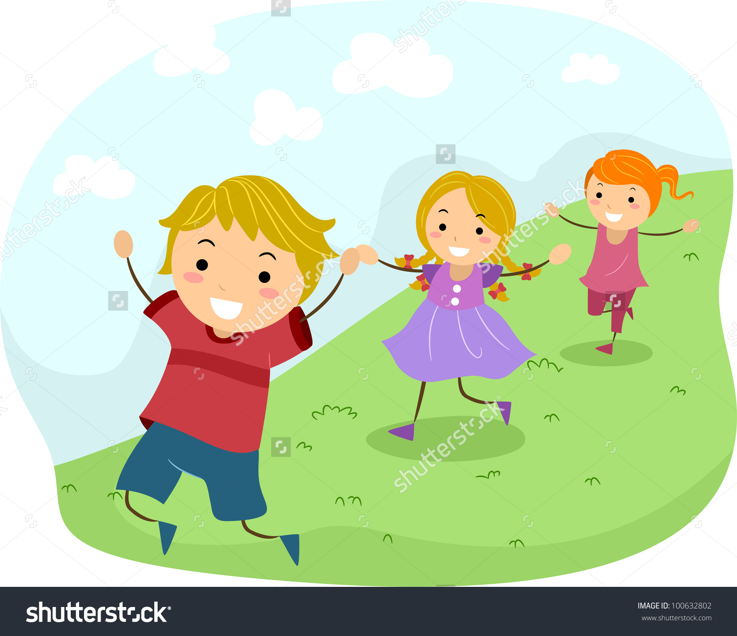 Kids chasing clipart.