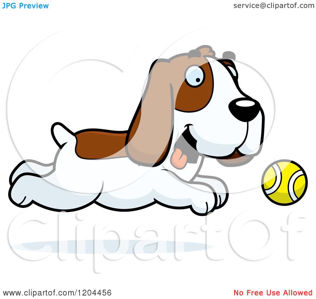 Cartoon of a Cute Hound Dog Chasing a Tennis Ball.